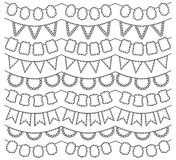 Vector Collection of Black Line Art Bunting Royalty Free Stock Photos