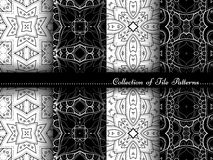 Vector Collection of Black and White Seamless Vintage Patterns Royalty Free Stock Images
