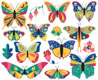 Vector Collection of Bohemian Stylized Butterflies and Moths vector illustration