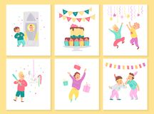 Vector collection of boys birthday party cards with bd cake, garlands, decor elements and happy kids characters. Flat cartoon styl. E. Good for invitation, tags vector illustration