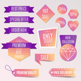 Vector collection of bright discount tags, banners and stickers. Vector collection of bright discount tags, banners and stickers Stock Photos