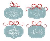 Vector collection of bright stickers, emblems and banners with calligraphy Christmas holiday text Royalty Free Stock Photo