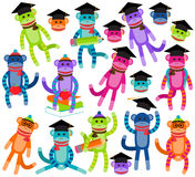 Vector Collection of Brightly Colored School and Graduation Themed Sock Monkeys Royalty Free Stock Photos