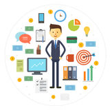 Vector collection business icons with businessman Stock Photography