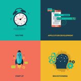 Vector collection business, marketing and finance concepts. Design elements for web and mobile applications. Flat vector. Illustration Royalty Free Stock Photo