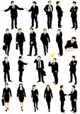 Vector collection of business people. Vector collection of detailed caucasian business people silhouettes talking, walking and gesticulating different Stock Images