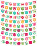 Vector Collection of Button Bunting in Bright Patterns Stock Photos