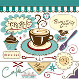 Vector Collection Cafe Elements Hot Coffee Sweets Stock Image