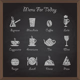 Vector collection: cafe icons on board Royalty Free Stock Image