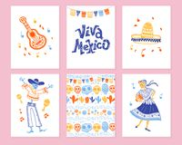Vector collection of cards with traditional decoration for Mexico day dead party, dia de los muertos celebration. In flat hand drawn style. Lettering vector illustration