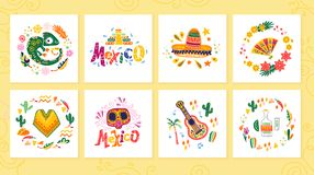 Vector collection of cards with traditional decoration Mexico party, carnival, celebration, fiesta event in flat hand drawn style. Text congratulation, skull vector illustration
