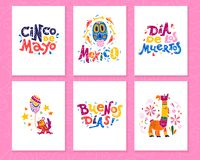 Vector collection of cards with traditional decoration Mexico party, carnival, celebration, fiesta event in flat hand drawn style. Text congratulation, skull royalty free illustration