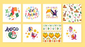 Vector collection of cards with traditional decoration for Mexico party, carnival, celebration, fiesta event in flat hand drawn st. Yle. Animals, floral elements vector illustration