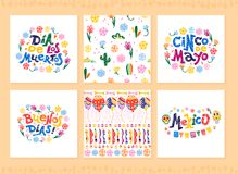 Vector collection of cards with traditional decoration for Mexico party, carnival, celebration, souvenirs, fiesta event in flat ha. Nd drawn style. Text stock illustration