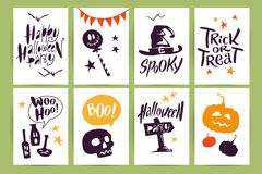 Vector collection of cartoon Halloween celebration cards and flayers with lettering and cute funny animals. Royalty Free Stock Photos
