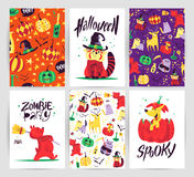 Vector collection of cartoon Halloween celebration cards and flayers with lettering and cute funny animals. Stock Photography