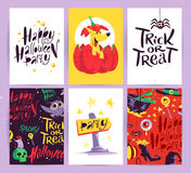 Vector collection of cartoon Halloween celebration cards and flayers with lettering and cute funny animals. Stock Images