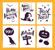 Vector collection of cartoon Halloween celebration cards and flayers with lettering and cute funny animals. Royalty Free Stock Photo