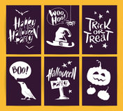 Vector collection of cartoon Halloween celebration cards and flayers with lettering and cute funny animals Stock Image