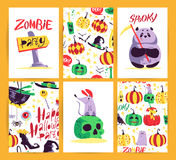 Vector collection of cartoon Halloween celebration cards and flayers with lettering and cute funny animals. Royalty Free Stock Photography