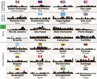 Vector set of Central and South America cities abstract skylines silhouettes royalty free illustration