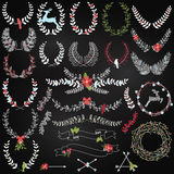 Vector Collection of Chalkboard Christmas Holiday Themed Laurels Royalty Free Stock Images