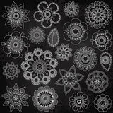 Vector Collection of Chalkboard Style Flowers Royalty Free Stock Photos