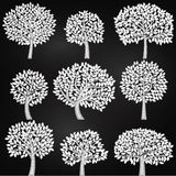 Vector Collection of Chalkboard Style Tree Silhouettes Royalty Free Stock Photography
