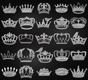 Vector Collection of Chalkboard Vintage Style Crown Silhouettes Stock Photo