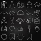Vector Collection of Chalkboard Wedding Doodles Royalty Free Stock Image