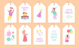 Vector collection of children birthday party tags and cards with happy boy and girl characters, bd cake, hat, gift box, confetti, vector illustration