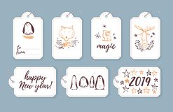 Vector collection of christmas cards, gift tags and badges isolated on light background. Emblems for xmas holiday presents packaging in hand drawn sketch style stock illustration
