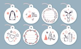 Vector collection of christmas cards, gift tags and badges isolated on light background. Emblems for xmas holiday presents packaging in hand drawn sketch style vector illustration