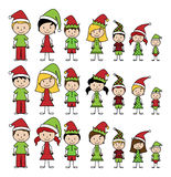 Vector Collection of Christmas or Holiday Style Stick Figures Stock Photography