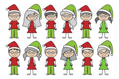Vector Collection of Christmas or Holiday Style Stick Figures Royalty Free Stock Photo