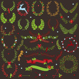 Vector Collection of Christmas Holiday Themed Laurels Stock Photos