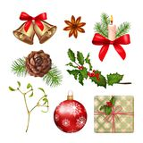 Christmas Icons Collection. Vector collection of Christmas icons. Xmas objects isolated on white background Royalty Free Stock Photos