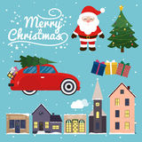 Vector collection of christmas items, elements and decorations f. Eaturing deer, christmas tree, Santa Claus, gift box, christmas city and retro car with Stock Image