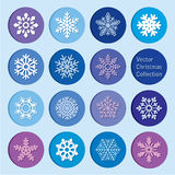 Vector collection: christmas and new year snowflakes icons Royalty Free Stock Photography