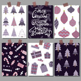 Vector collection of Christmas poster templates. Set greeting cards. Bright colors.  Stock Images