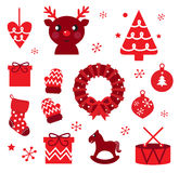 Vector collection of christmas retro elements. Red retro xmas items and elements ( red Stock Images