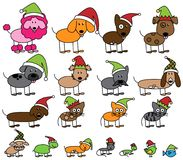 Vector Collection of Christmas Themed Stick Figure Pets Royalty Free Stock Photos