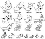 Vector Collection of Christmas Themed Stick Figure Pets. With Santa Hats Royalty Free Stock Images