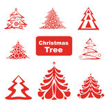 Vector Collection of Christmas Trees. Vector Collection of Red Christmas Trees Stock Photo