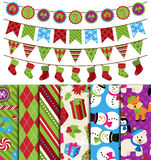 Vector Collection of Christmas and Winter Themed backgrounds and Bunting Royalty Free Stock Image