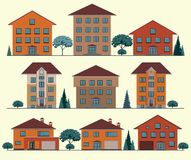 Vector Collection of City and Town Buildings. Stock Images