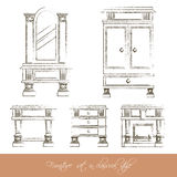Vector collection of classical furniture. Made in hand drawn charcoal  line style. Template for business card and banner Royalty Free Stock Photo