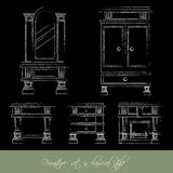 Vector collection of classical furniture. Made in hand drawn line style. Template for business card and banner Royalty Free Stock Images