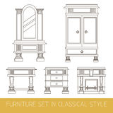 Vector collection of classical furniture. Made in line style. Template for business card and banner Stock Photography