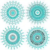 Vector collection of color monochrome mandalas. Contour spirograph, patterned design element, ethnic amulet. Bright psychedelic mandalas on a white background Royalty Free Illustration